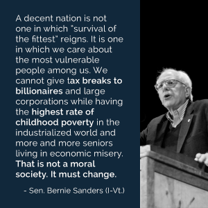 Quote from senator Bernie Sanders
